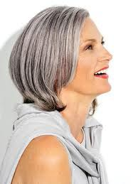 short, straight salt and pepper hair, probably what my hair will look like once I grow the grey strands out. Right now, the grey roots are showing on my dark brown bob. It'll be two toned for a while, but in about one to two years, my salt and pepper hair should look good.