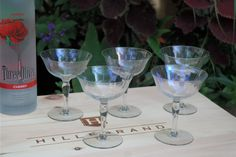 Wedding Gift Cocktail Glasses : Vintage Iridescent Optic Glass Cocktail Coupe Martini Glasses, Set of ...