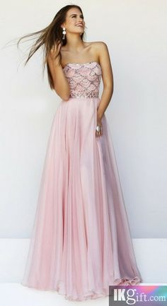 Prom dress. This pink dress will turn any girl into a sweetheart.