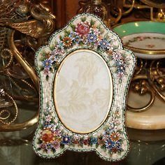 """Antique Victorian Era Italian Micro Mosaic 5.5"""" Picture Frame, Raised from antiques-uncommon-treasure on Ruby Lane"""