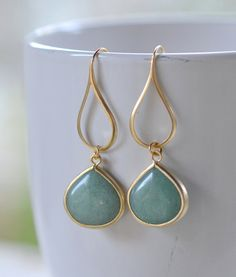Gold Sage Green Drop Earrings. Sage Teardrop and by RusticGem