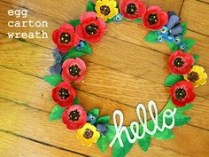 DIY Egg carton wreath- Perfect for Spring crafting with kids!