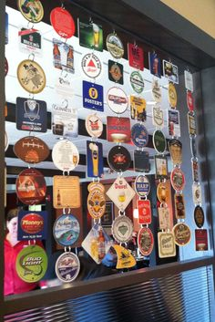 Craft beer coasters as room dividers or window focal interest.