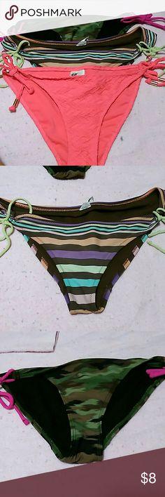 Bundle three bathing suit bottoms H & M pink size 10, Aero stripes and O P camo size M. Swim Bikinis
