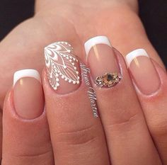 Beautiful wedding nails, Delicate wedding nails, Festive nails, Lace nails…