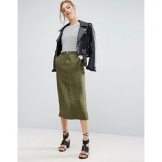 ASOS Twill Midi Skirt with Pockets (2.195 RUB) ❤ liked on Polyvore featuring skirts, green, calf length skirts, green high waisted skirt, asos, high-waisted midi skirts and green skirt