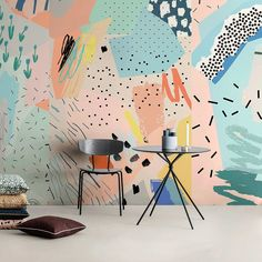 Removable wallpaper peel and stick wallpaper wall paper wall mural - abstract po Wallpaper Wall, Peel And Stick Wallpaper, Office Wallpaper, Wallpaper Designs, Mural Wall Art, Painted Wall Murals, Kids Wall Murals, Room Wall Painting, Painted Walls
