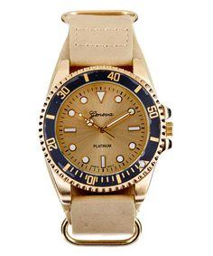Love this Bone & Gold Faux-Leather Strap Watch on #zulily! #zulilyfinds