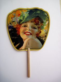 """Gorgeous 1929 Art Deco Advertising Fan """"Queen of The Ball"""" by Rolf Armstrong 