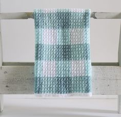 Crochet Teal Gingham Blanket Pattern by Daisy Farm Crafts