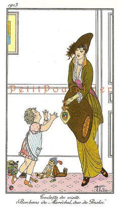 PetitPoulailler 1913 Vintage Fashion Lithograph From Journal des Dames et des Modes, Armand Vallée, Pl 129
