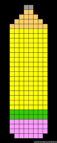Pencil perler bead pattern... maybe make the squares smaller, more yellow - scarf!