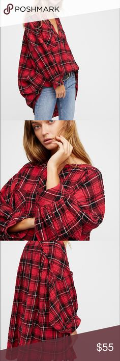 Free People not your boyfriend plaid tunic New with tags, amazing plaid tunic by Free People. Fits oversized. Free People Tops Tunics
