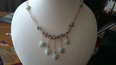 Amazonite and labradorite chip necklace using copper wire www.facebook.com/KimsGlitteringGems