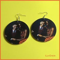 Mr. & Mrs. Obama Wooden Earrings Wooden Earrings, Dangle Earrings, Black Chicks, Halloween Earrings, Elephant Head, Glitter Lips, Obama, Dangles, Design