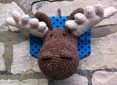 Crochet head available from etsy or www.facebook.com/firesidefortune #crochet #moose #crochetdermy #head #taxidermy