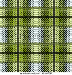 Knitting seamless vector pattern with perpendicular lines as a woollen Celtic tartan plaid or a knitted fabric texture in warm green and grey hues