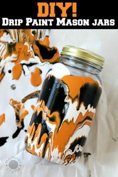 Fall Paint Drip Jars - Fall Crafts for Kids - Mason Jar Crafts for Kids - Mason Jar Crafts for Fall, Halloween