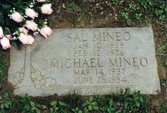 Sal Mineo Burial: Gate of Heaven Cemetery Hawthorne Westchester County New York, USA.played in Rebel Without A Cause with Natalie Wood and James Dean Cemetery Monuments, Cemetery Art, Cemetery Statues, Westchester County New York, Famous Tombstones, Famous Graves, After Life, Grave Memorials, Find A Grave