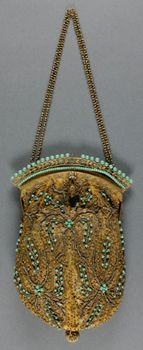 Purse made in Paris, France, early 20th century by E. Gauther.  Gold net and sequins with turquoise beads, 9x 5.5 inches.