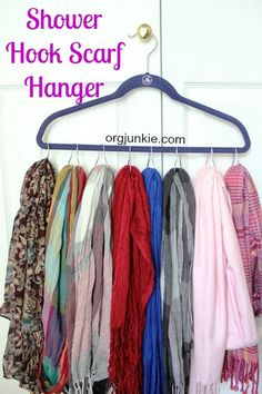 Organize Your Scarves with Shower Hooks