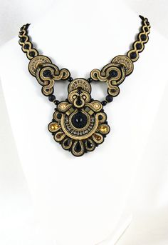 Soutache Necklace Golden Petals / black gold old by BeadsRainbow