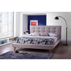 Baxton Studio Jonesy Scandinavian Style Mid-century Beige Linen Fabric Upholstered King-size Platfor | Overstock.com Shopping - The Best Deals on Beds