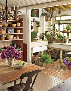 with Old Objects Kitchen / Potting Shed .be still my heart!Kitchen / Potting Shed .be still my heart! Deco Champetre, Garden Design, House Design, Potting Sheds, Potting Benches, My Dream Home, Home And Garden, Dream Garden, Garden Cottage