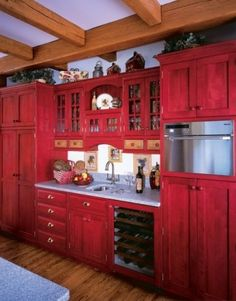 Red kitchen cabinets.