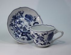 "Vintage Blue Danube Large 2 3/4"" Cup and Saucer Japan Blue Onion Lipper"