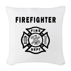 Firefighter Fire Dept Woven Throw Pillow