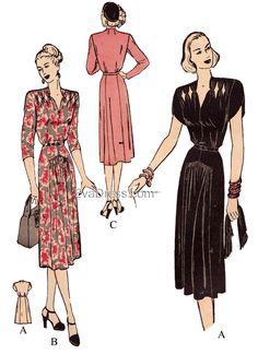 1940s Dresses, Vintage Dresses, Vintage Outfits, Vintage Blouse, Vintage Dress Patterns, Dress Sewing Patterns, Clothes Patterns, 1940s Fashion, Vintage Fashion