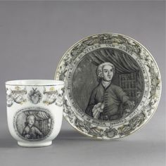 A CHINESE EXPORT PORTRAIT COFFEE CUP AND SAUCER circa 1745 each painted en…
