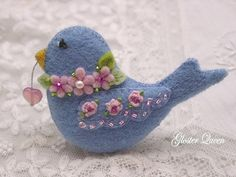 Felt blue love bird with roses by GlosterQueen on Etsy