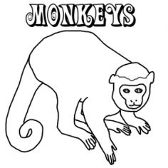 Pics for spider monkey clipart for Spider monkey coloring page