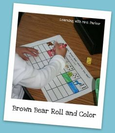 Here's a color, graph, and roll activity using animals from BROWN BEAR, BROWN BEAR, WHAT DO YOU SEE? by Eric Carle.
