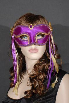 Purple Satin and Gold Masquerade Mask.