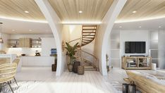 Luxury villa in Thailand, based on an ancient architectural principles. An airy interior with gorgeous architectural features, natural materials & nature views. Wooden Accent Wall, Villa Design, Architectural Features, Staircase Design, Poufs, Beautiful Interiors, My Dream Home, Decoration, Interior Design