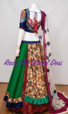 CHANIYA CHOLI 2018 Silk Chania with designer brocade blouse and contrast dupatta Lengha Blouse Designs, Choli Designs, Lehenga Blouse, Henna Designs, Garba Dress, Navratri Dress, Indian Dresses, Indian Outfits, Cotton Lehenga
