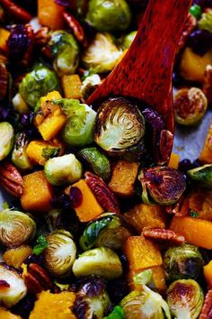 """""""Maple Roasted Brussel Sprouts and Butternut Squash are so simple to make but full of incredible flavor. They are crisp on the edges and soft and tender inside in a delicious maple glaze and surrounded by crunchy pecans and cranberries. Side Dish Recipes, Vegetable Recipes, Vegetarian Recipes, Healthy Recipes, Delicious Recipes, Asian Recipes, Crockpot Recipes, Keto Recipes, Thanksgiving Side Dishes"""