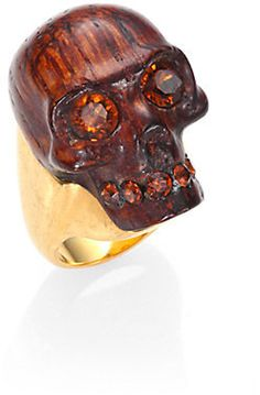 Alexander McQueen Small Skull Wood Ring on shopstyle.com