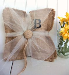 BURLAP ring bearer pillow custom monogram by SophiasSignBoutique, $35.00