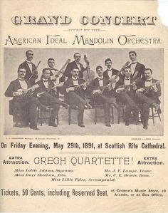 Flyer for American Ideal Mandolin Orchestra concert. Check out some of their sheet music over at Johns Hopkins, too!  https://jscholarship.library.jhu.edu/handle/1774.2/27942