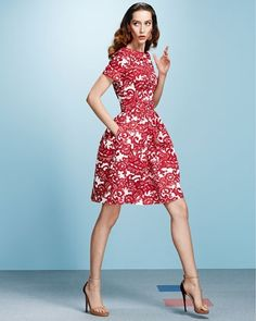 A-line Short-Sleeve Paisley Dress, Vermillion/White  from Neiman Marcus on Catalog Spree