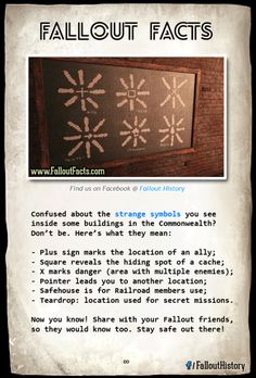Commonwealth symbols are exactly like shadow marks from Skyrim Ofcourse! I'm so glad that Bethesda can make these games so different yet they have slight similarities Fallout 4 Secrets, Fallout 4 Tips, Fallout Lore, Fallout Facts, Fallout Funny, Fallout New Vegas, Fallout Props, Fallout Cosplay, Bioshock Cosplay