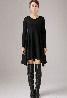 Mini wool dress winter dress patchwork dress 427 by xiaolizi, $129.00