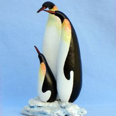 Gourd Art by Cyndee Newick - family of penquins