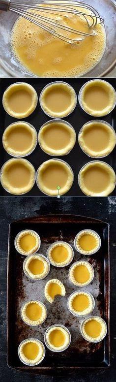 Recette pour le goûter en provenance d'Hong-Kong - HongKong Egg Tarts Recipe by the Woks of Life Tart Recipes, Baking Recipes, Sweet Recipes, Dessert Recipes, Asia Food, Asian Desserts, Chinese Desserts, Food To Make, Food And Drink