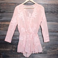 gauze embroidered surplice romper with ruffle hem - blush - shophearts - 1