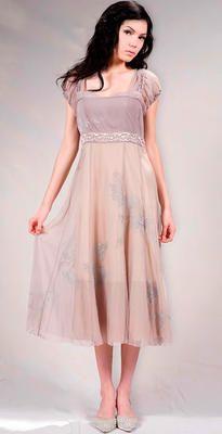 40096 Lavender/Beige Empire Dress